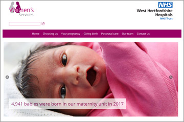Picture of the home page of the trust's new maternity website